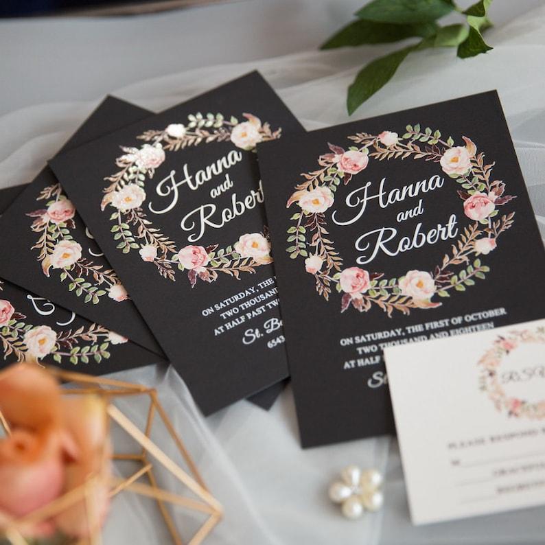 Floral Wreath UV Printed Wedding Invite / Flat Wedding Invite image 1