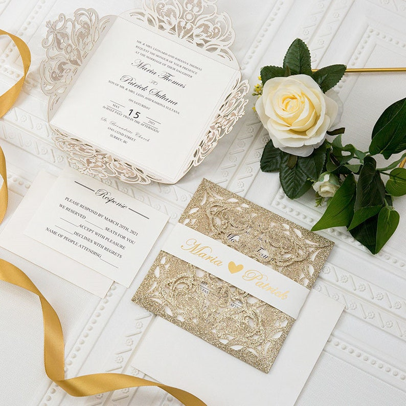 Gold & Ivory Glitter Laser Cut Wedding Invite / Gold foil image 0