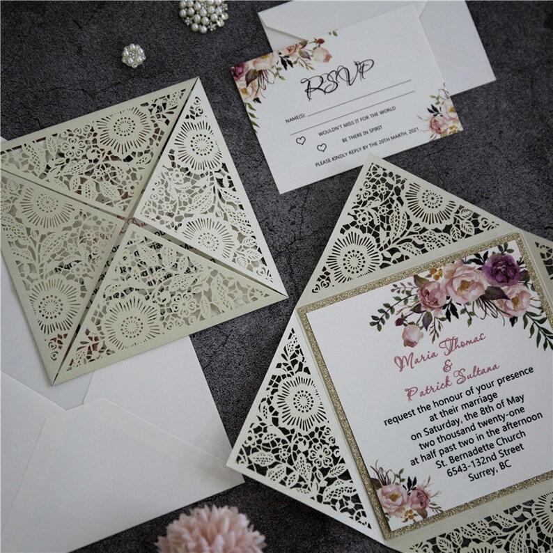 Boho Style Laser Cut Wedding Invite / Gold wedding invite / image 1