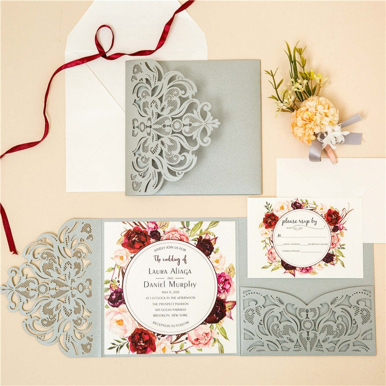 Silver & Floral Laser Cut Wedding Invite / Floral wedding image 0