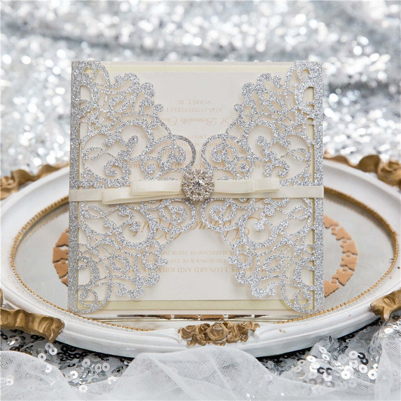 Silver Glitter Gatefold Lasercut Wedding Invitation with image 1
