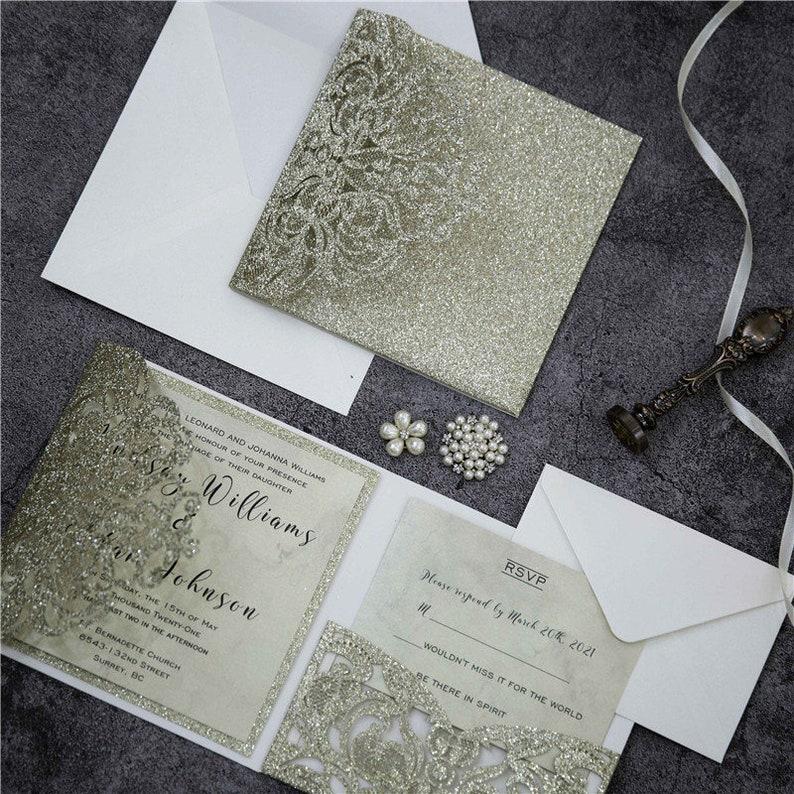 Champagne Gold Glitter Pocket fold Lasercut Wedding Invitation image 1