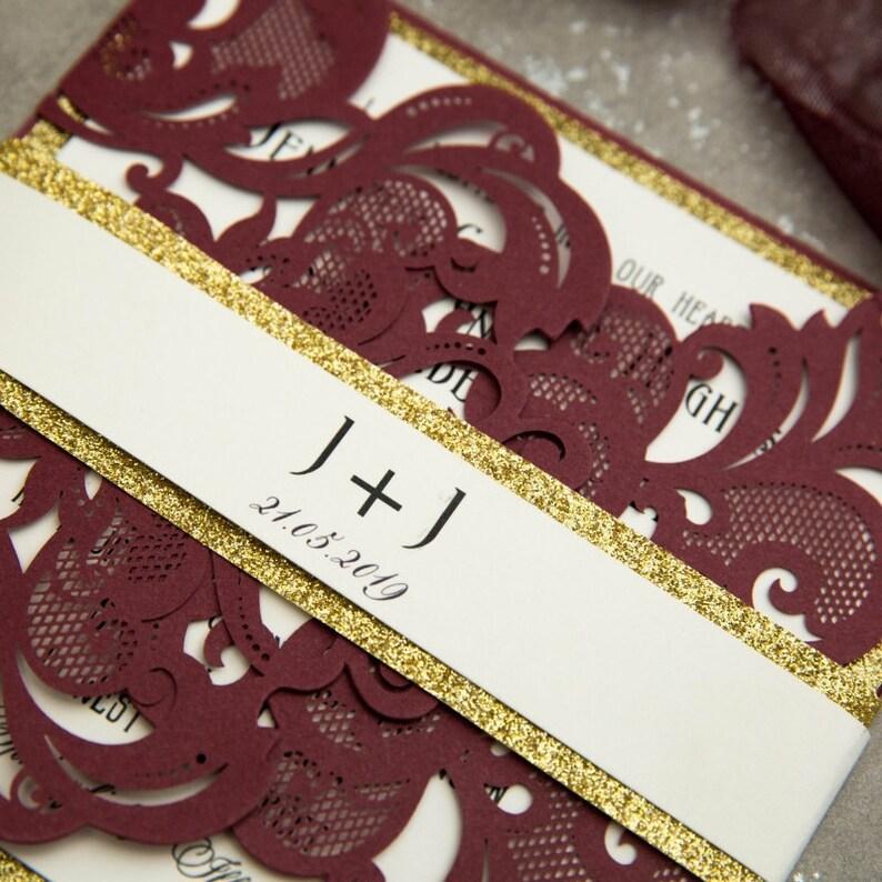 Burgundy & Gold Glitter Laser Cut Wedding Invite / Wedding image 1