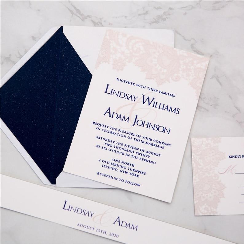 Lace Effect UV Printed Wedding Invite / Blush & Navy Wedding image 1
