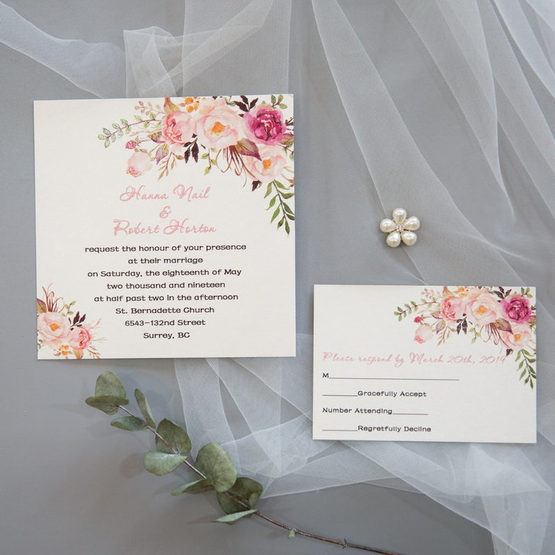 Pink Floral UV Printed Wedding Invite / Flat Wedding Invite / image 1