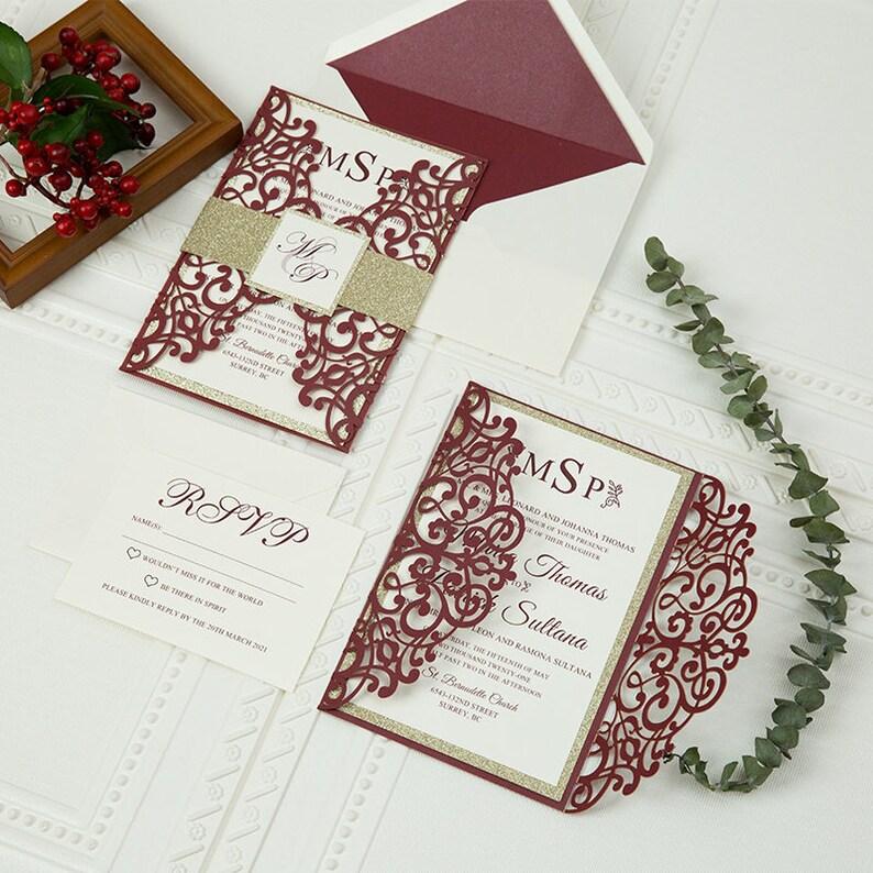 Burgundy & Gold Glitter Laser Cut Wedding Invite / Wedding image 0