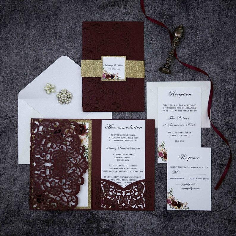 Burgundy Floral Lasercut Pocketfold Wedding Invitation with image 0