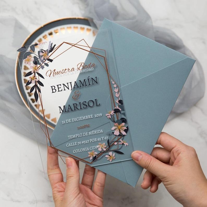 Dusty Blue Boho Geometric Acrylic Wedding Invitation image 0