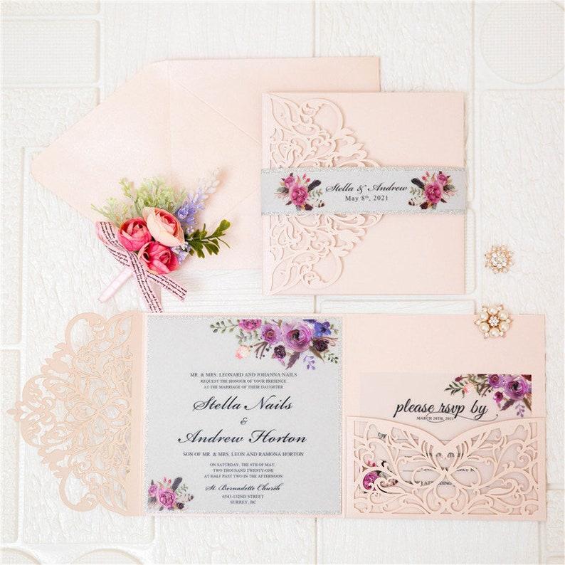 Vellum Laser Cut Wedding Invite / Floral wedding invite / image 1