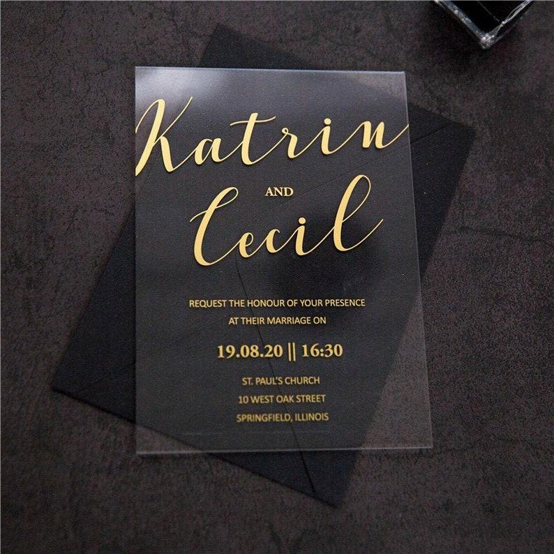 Acrylic Gold Wedding Invitation / Perspex Wedding Invite / image 0