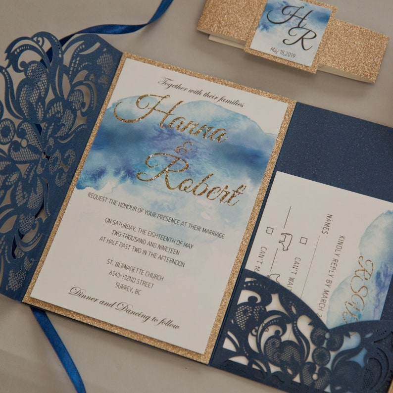 Navy Watercolour & Gold Glitter Laser Cut Wedding Invite / image 0