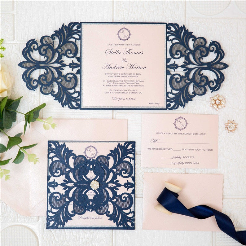 Navy & Blush Laser Cut Wedding Invite / Navy wedding invite / image 0