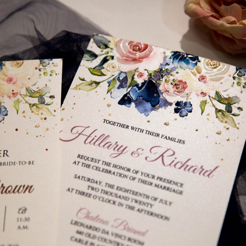 Blue & Pink UV Printed Wedding Invite / Flat Wedding Invite / image 1