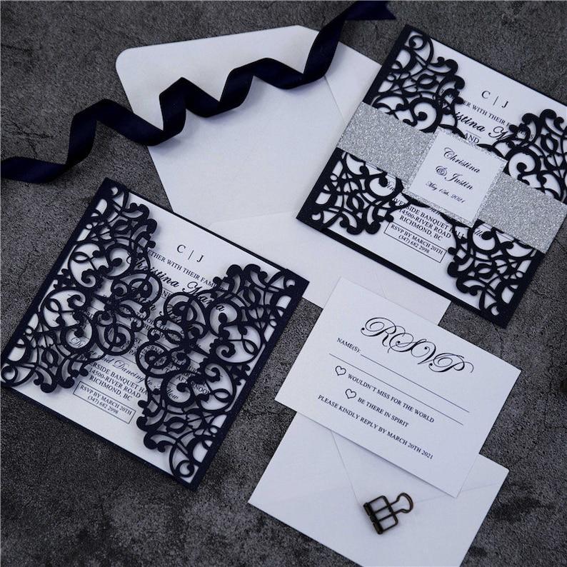 Navy & Silver Glitter Lasercut Gatefold Wedding Invite with image 1