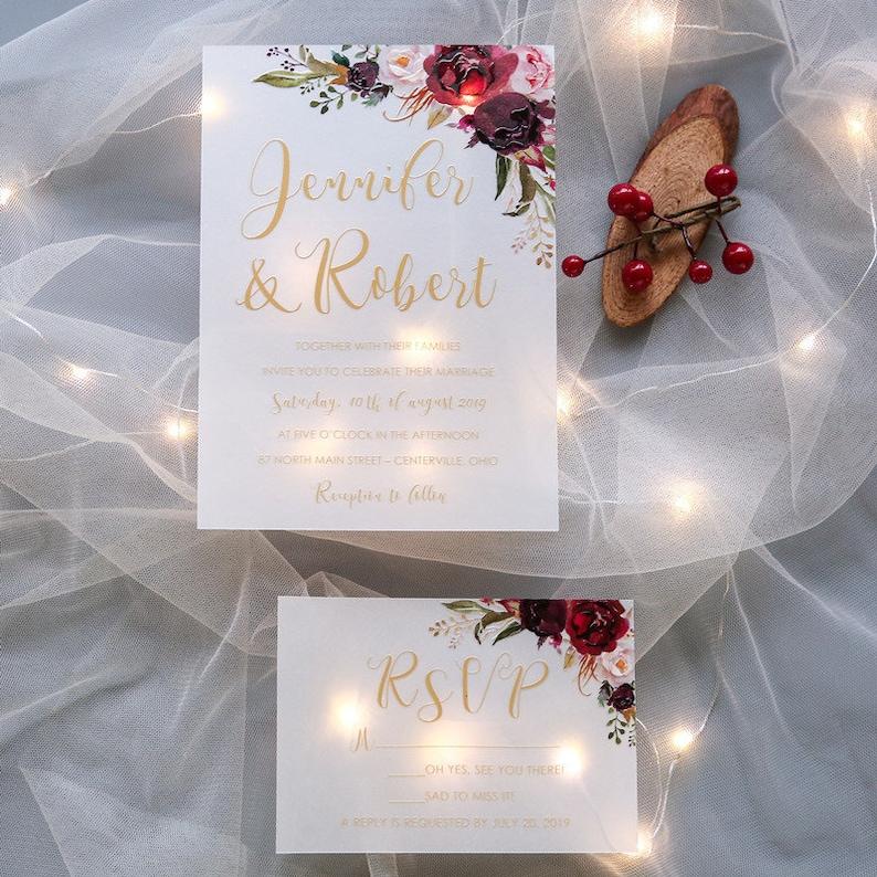 Burgundy & Red Floral UV Printed Wedding Invite / Flat Wedding image 1
