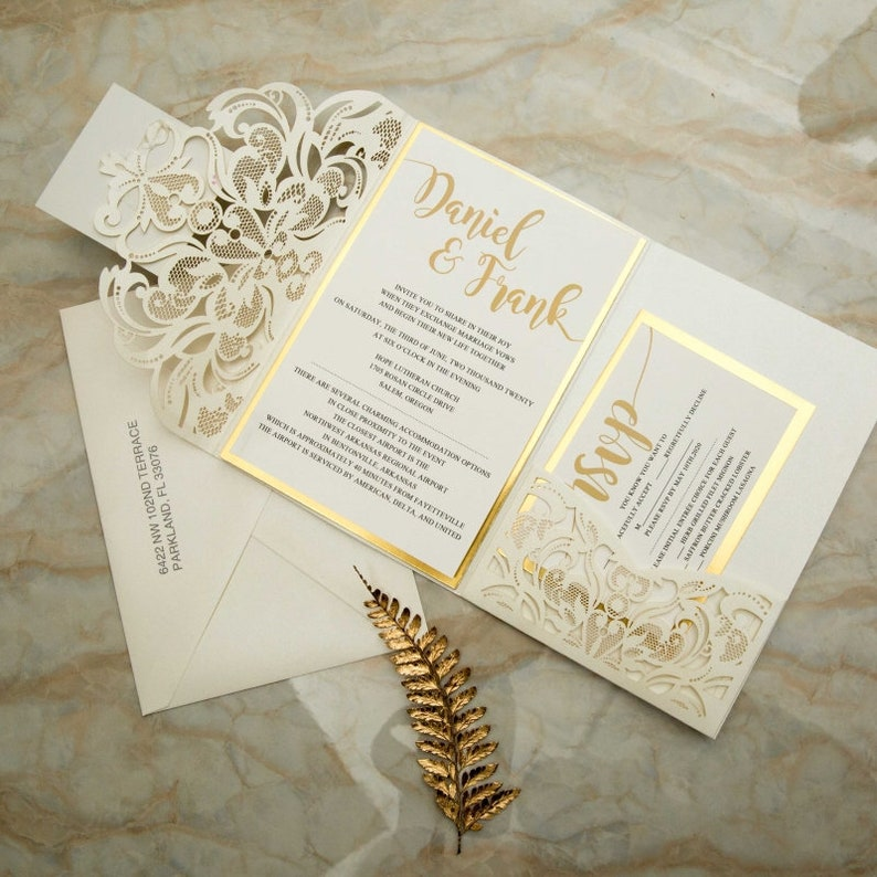 Laser Cut Wedding Invite / Ivory and gold wedding invite / image 0