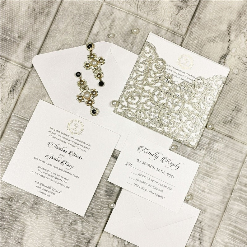 Champagne Gold Pocket Wedding Invitation with Gold Foiled image 0