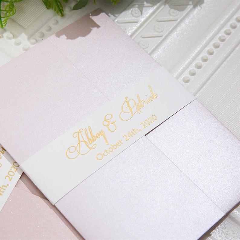 Blush & Gold Foil Laser Cut Wedding Invite / Wedding invite / image 1