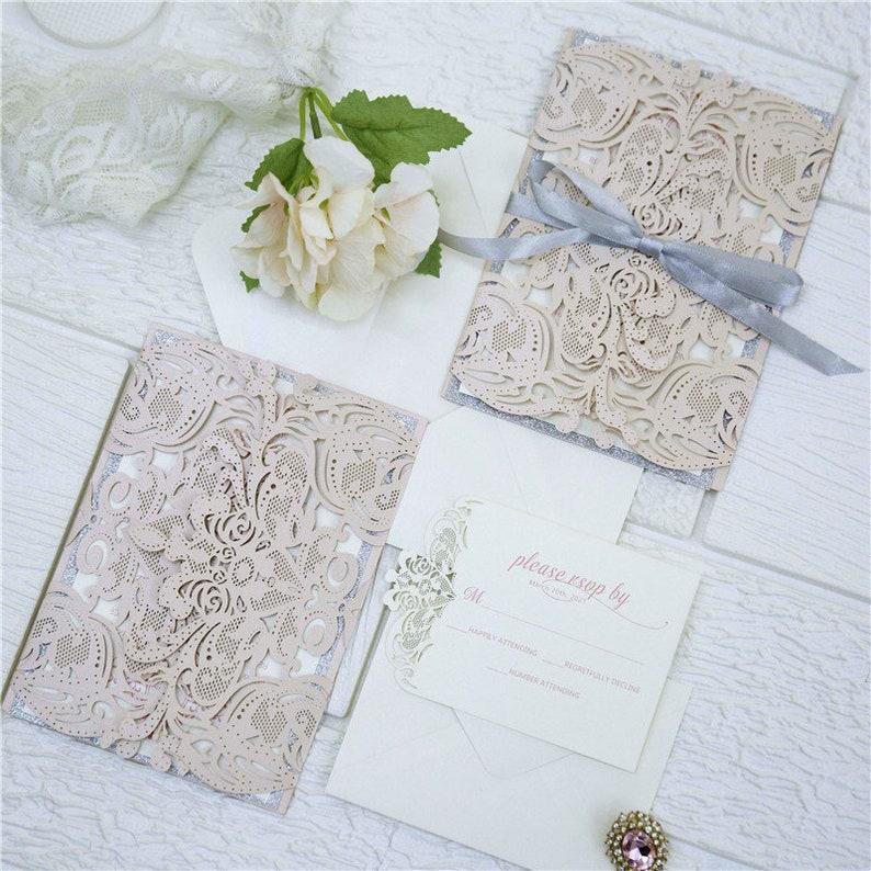 Laser Cut Blush Wedding Invitation / Laser Cut Wedding Invite image 1