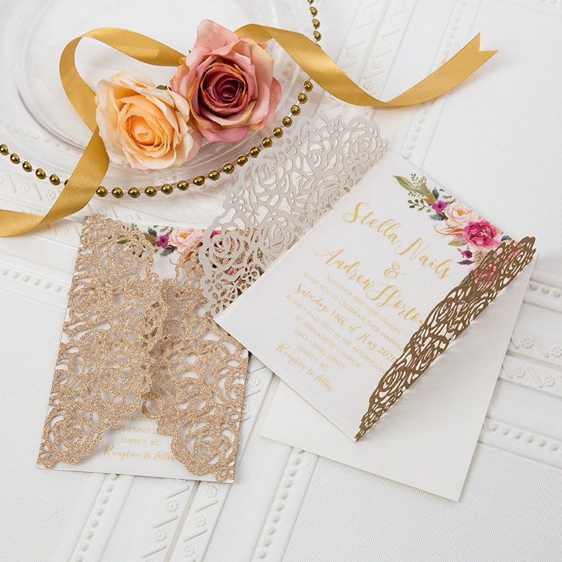 Rose Gold Glitter Gatefold Lasercut Wedding Invite with image 0