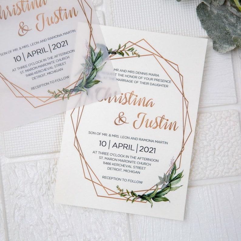 Geometric Olive Eucalyptus Leaf Design UV Printed Wedding image 1