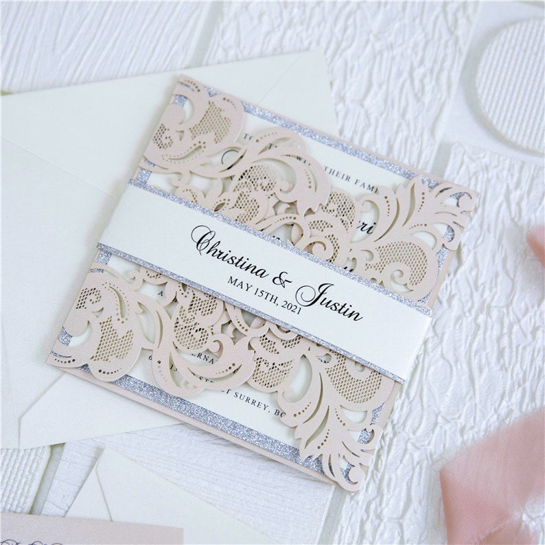 Blush Pink & Silver Laser Cut Wedding Invite / Blush wedding image 0