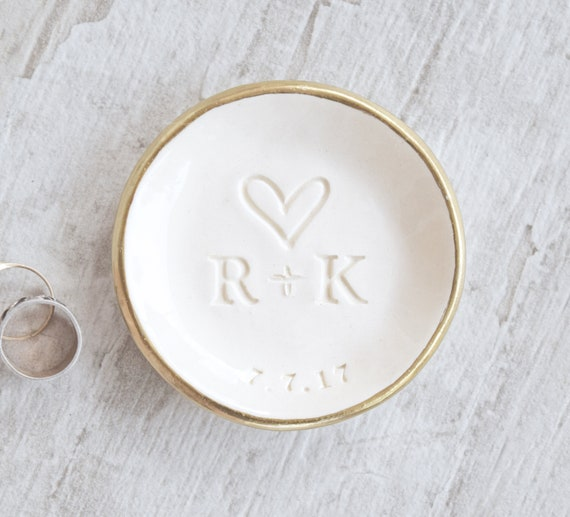 Engagement ring dish  wedding ring dish  personalised ring dish gift  custom  monogram  UK initials date names gold clay ring holder