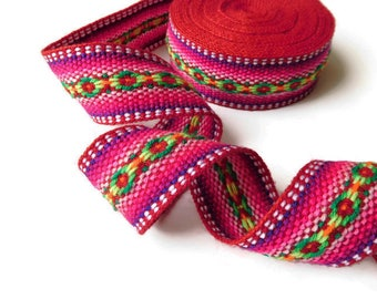"Jacquard Boho Trim, Red Craft Ribbon,Trim Embellishment , Bohemian Gypsy Fashion 35 mm/1.37"" wide x 5.0 m/5.46 yd"
