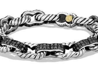 Men's Metallic Pavé Carter Chain Bracelet with Black Diamonds and Gold
