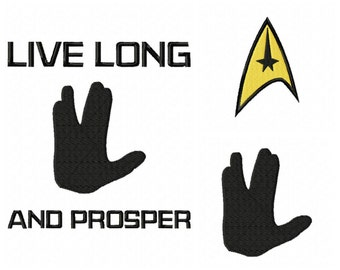 INSTANT DOWNLOAD.3 for 1 Star Trek inspired embroidery designs  Spock. Vulcan. logo. Live long and prosper.  pes,jef sew,hus,,vip3,xxx,dst