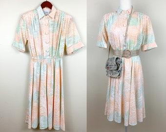 Vintage 70s Dress Pussy Bow 1970s Seventies Pink Coral Brown Pastel Fern M Buttons Elastic Waistband M L Boho Hippie