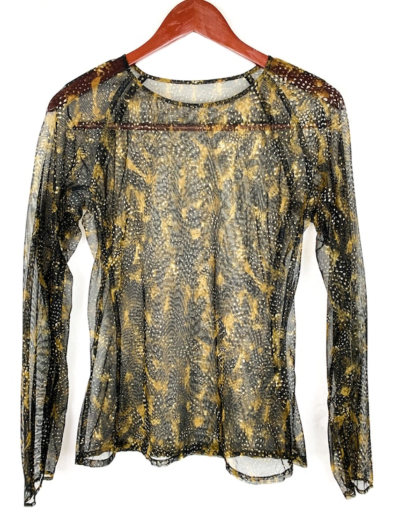 90s Mesh Snakeskin Printed Shirt, 90s Fishnet Shi… - image 5