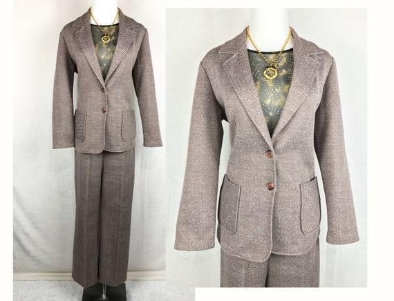 1970s Sears Comfy Herringbone Pantsuit Set Size 12