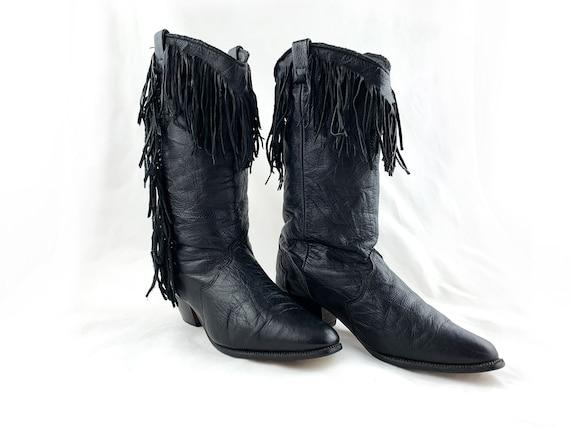 1980s Dingo Boots Size, 80s Black Leather Fringe C