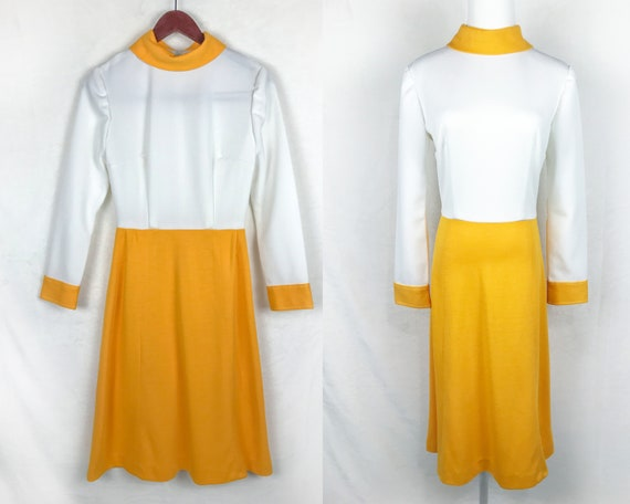 1960s Yellow and White Mod Dress, Vintage Home Sew