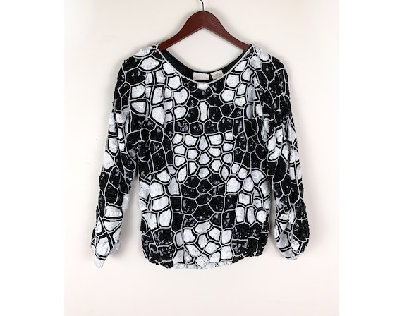 80s Black and White Beaded Top Size Medium, by Dom