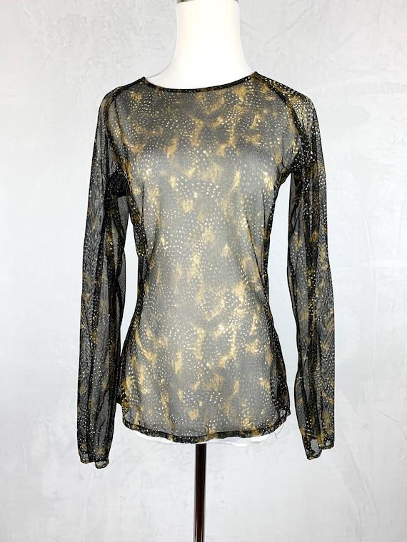 90s Mesh Snakeskin Printed Shirt, 90s Fishnet Shi… - image 2