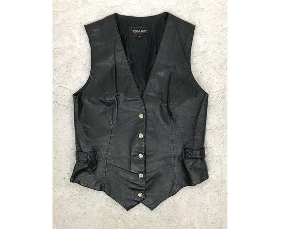 1980s Women's Small Wilson Black Leather Vest, 80s