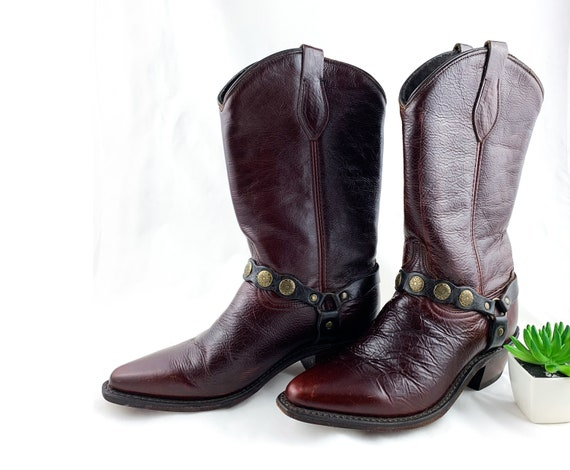 Vintage Oxblood Leather Cowboy Boots, Women's Size