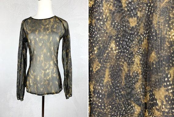 90s Mesh Snakeskin Printed Shirt, 90s Fishnet Shi… - image 1