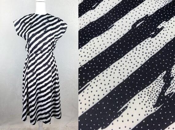 80s Anthony Richards Black and White Striped Dress