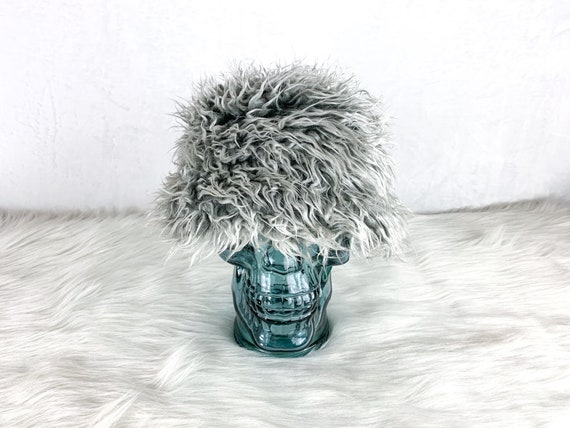 90s Furry Bucket Hat Faux Fur, Y2K Furry Gray Buck