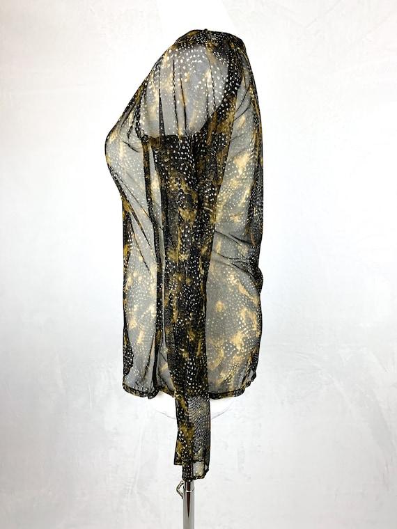 90s Mesh Snakeskin Printed Shirt, 90s Fishnet Shi… - image 3