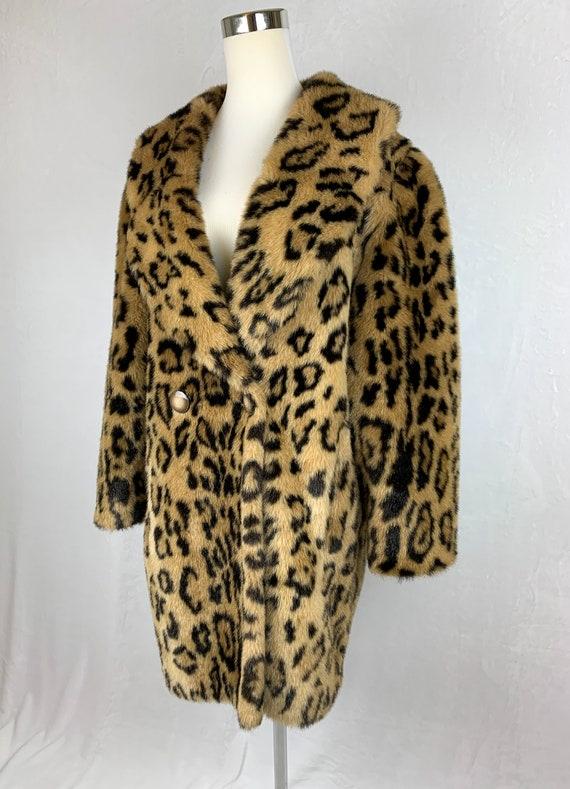 Vintage Leopard Print Coat, Vintage Faux Fur Leop… - image 4