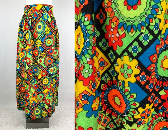 1960s Psychedelic Print Maxi Skirt, 60s Psychedeli