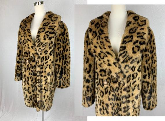 Vintage Leopard Print Coat, Vintage Faux Fur Leopa