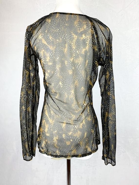 90s Mesh Snakeskin Printed Shirt, 90s Fishnet Shi… - image 4