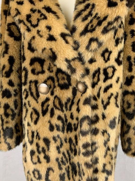 Vintage Leopard Print Coat, Vintage Faux Fur Leop… - image 5