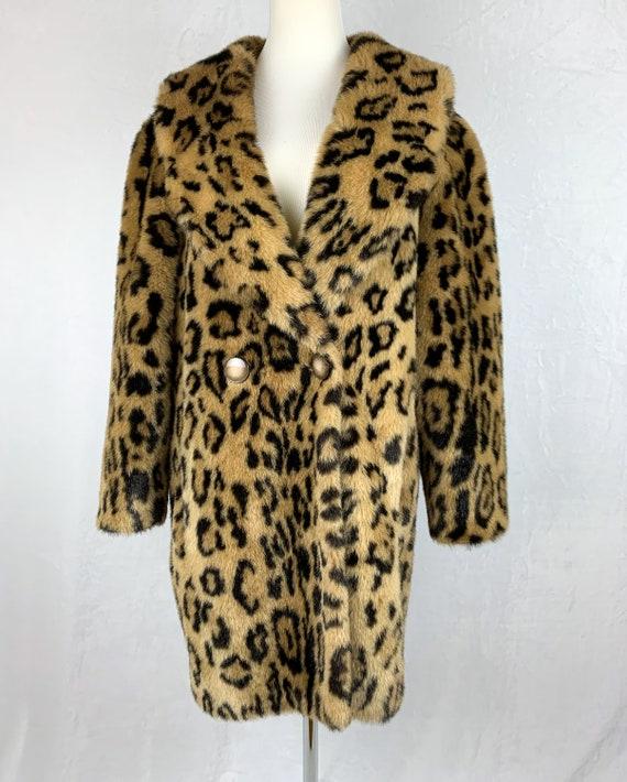 Vintage Leopard Print Coat, Vintage Faux Fur Leop… - image 2