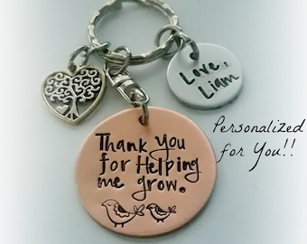 Personalized Nanny / Babysitter Gift, Thank You For Helping Me Grow Engraved Copper Keychain, Preschool Teacher Appreciation Key Chain